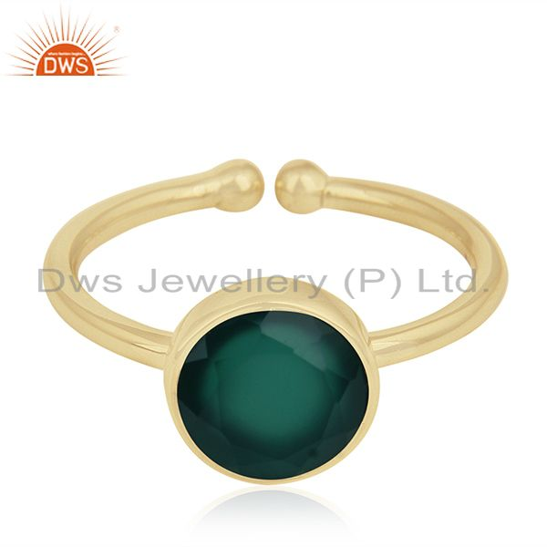 Exporter Green Onyx Gemstone 925 Sterling Silver Gold Plated Ring Wholesale
