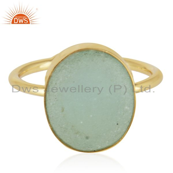 Exporter Aqua Gemstone 925 Silver Handmade Gold Plated Statement Ring Wholesale