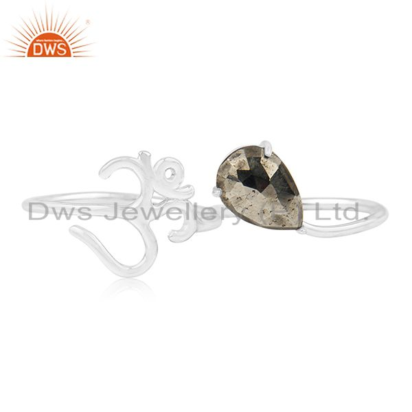 Exporter Indian Religious Om Charm Pyrite Gemstone 925 Silver Double Finger Ring Supplier