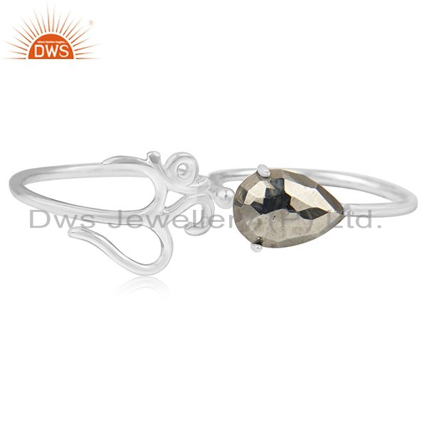 Exporter Fine Sterling Silver Om Charm Pyrite Gemstone Double Finger Ring Manufacturers
