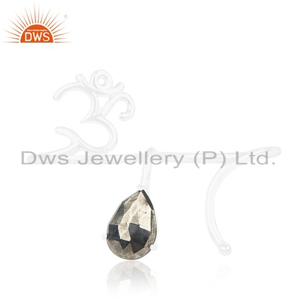 Exporter Pyrite Gemstone 925 Sterling Silver Om Aum Double Finger Ring Wholesale