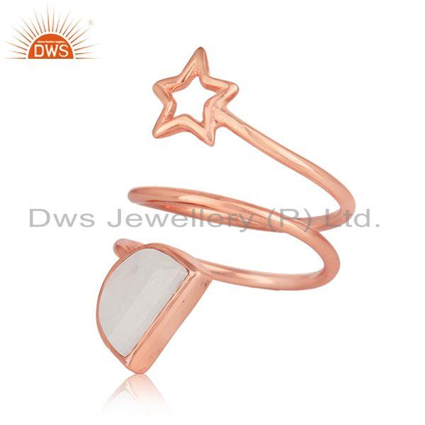 Star design rose gold plated silver rainbow moonstone rings