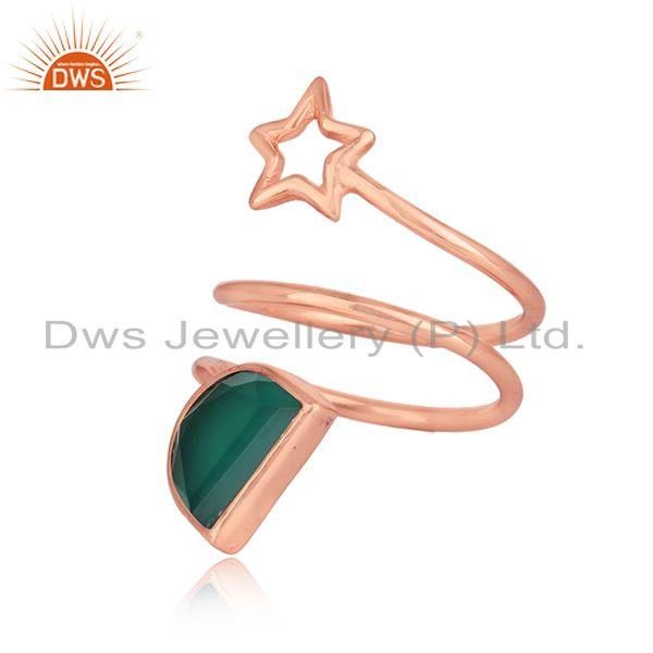 Green onyx gemstone star designer rose gold plated silver rings