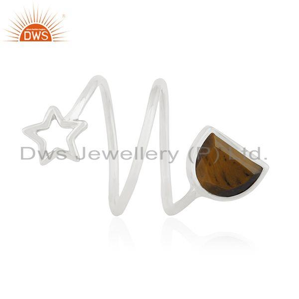 Exporter Tiger Eye Gemstone 925 Silver Star Charm Ring Manufacturers