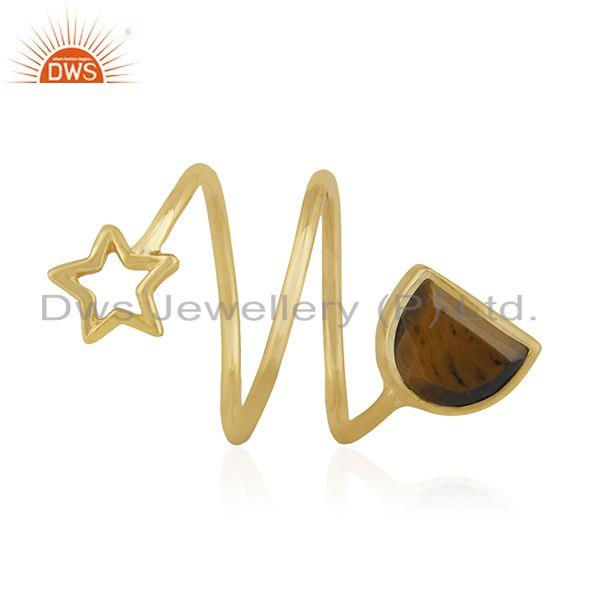 Exporter Star Charm Gold Plated 925 Silver Tiger Eye Gemstone Ring Wholesale