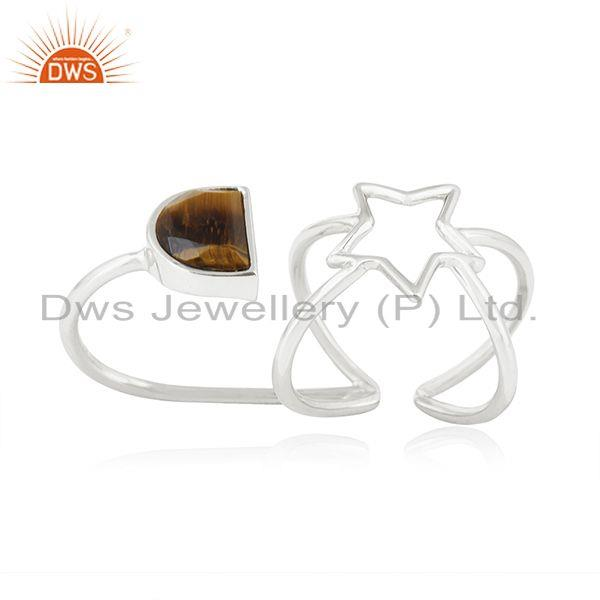 Exporter Tiger Eye Gemstone Fine Sterling Silver Star Charm Double Finger Ring Wholesale