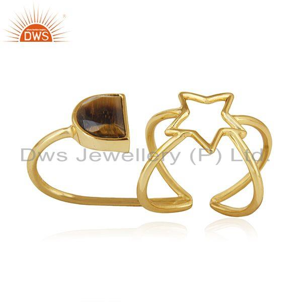 Exporter Gold Plated 925 Silver Tiger Eye Gemstone Star Charm Lucky Ring Wholesale
