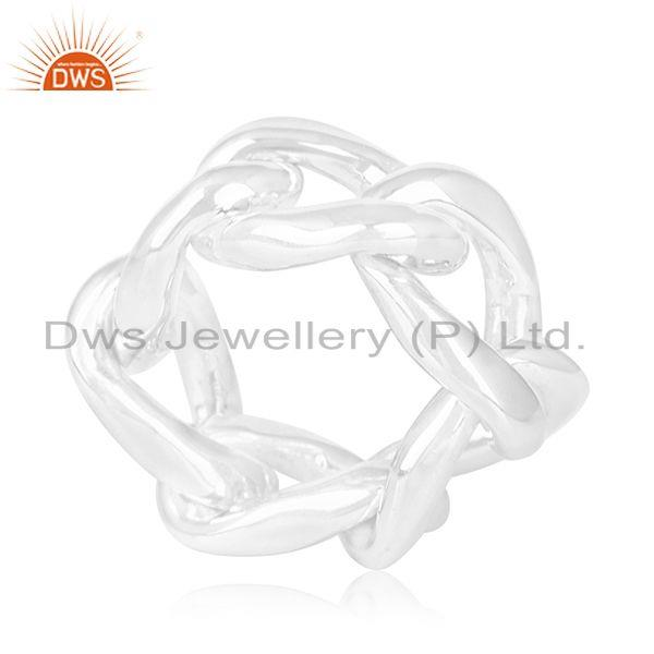 Exporter 925 Sterling Plain Silver Chain Link Design Ring Manufacturer of Wedding Rings