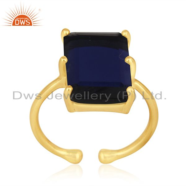 Exporter Blue Corundum Gemstone 925 Silver Gold Plated Adjustable Ring Wholesale