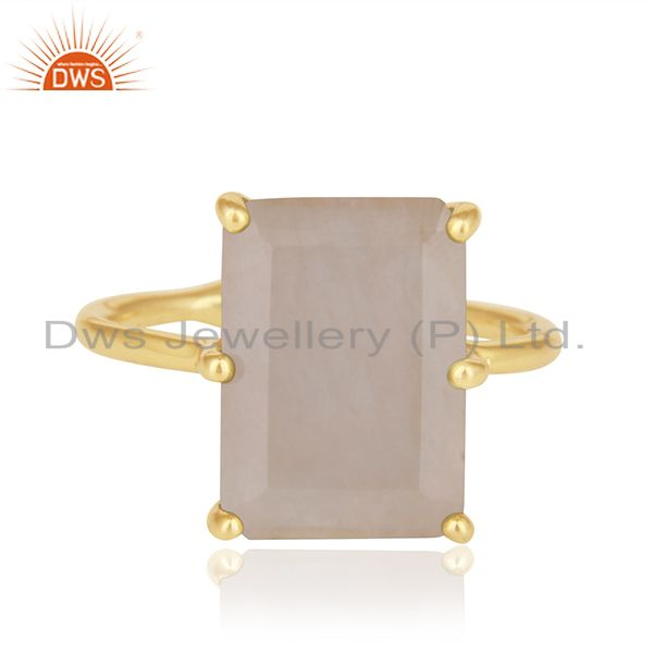Exporter Prong Set Rose Quartz Gemstone Gold Plated 925 Silver Adjustable Ring Wholesale