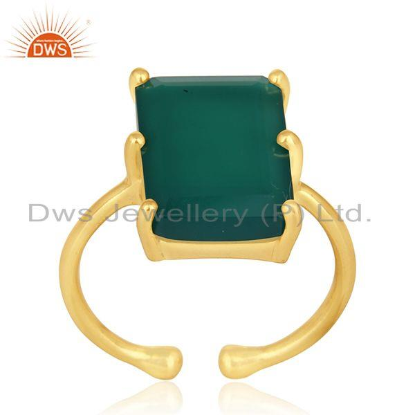 Exporter 925 Silver Gold Plated Green Onyx Gemstone Adjustable Ring Suppliers