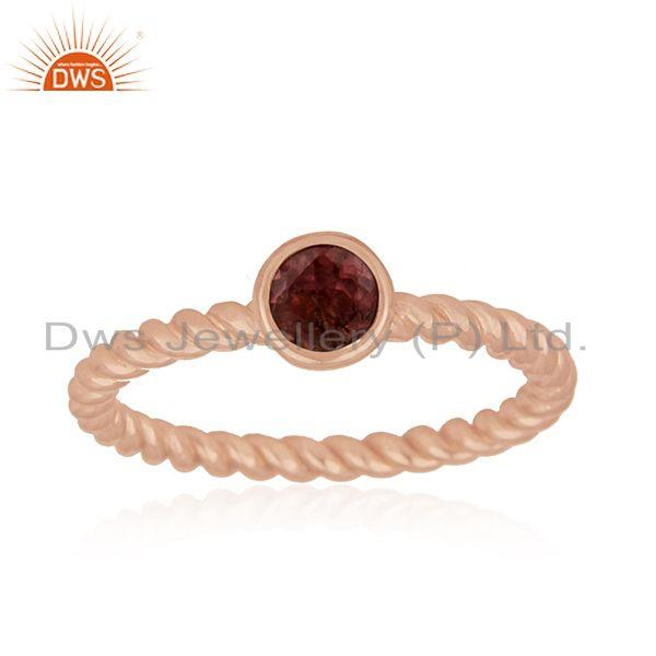 Exporter Pink Tourmaline Gemstone Rose Gold Plated Sterling Silver Midi Ring Manaufacture