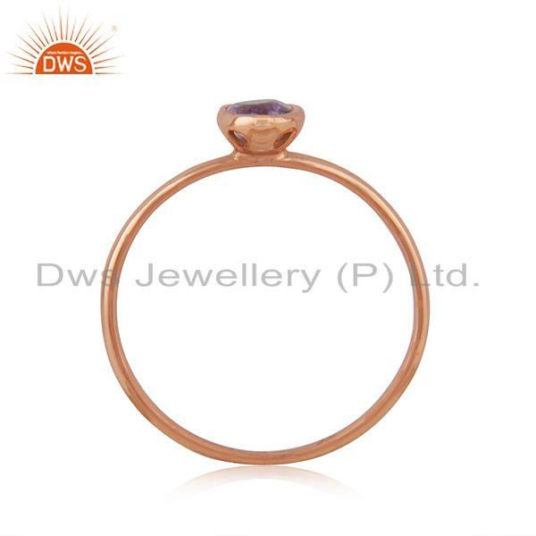 Exporter Handmade 925 Silver Rose Gold Plated Amethyst Gemstone Simple Ring Wholesaler