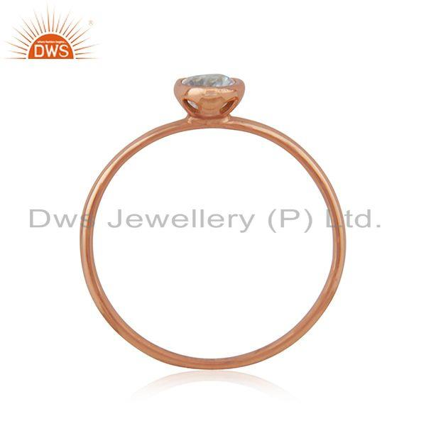 Exporter Blue Topaz Handmade Rose Gold Plated Sterling Silver Ring Jewelry Wholesale