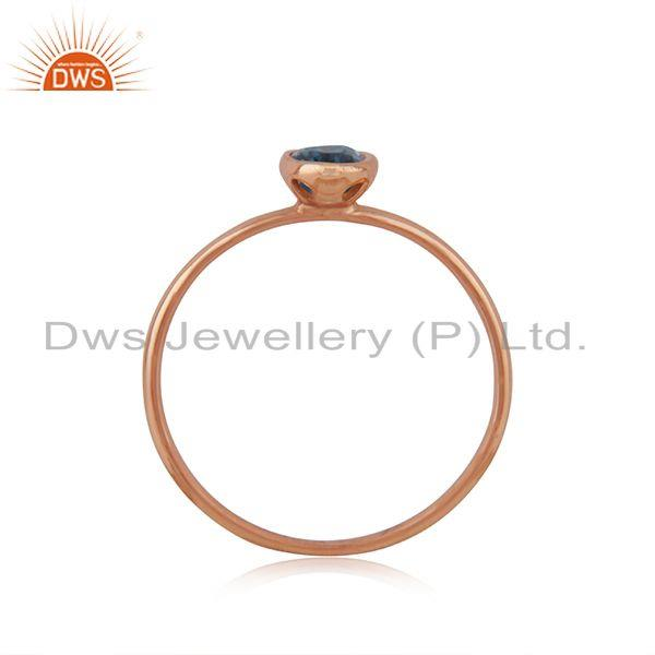 Exporter London Blue Topaz Roe Gold Plated 925 Silver Simple Ring Manufacturer India