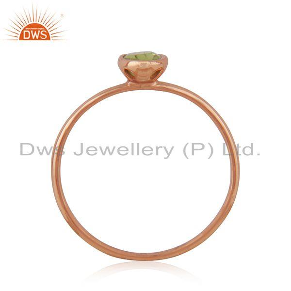 Exporter Oval Cut Peridot Gemstone Rose Gold Plated 925 Silver Ring Manufacturer Jaipur