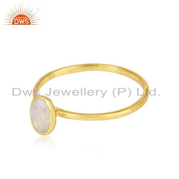 Designer gold plated silver rainbow moonstone gemstone rings
