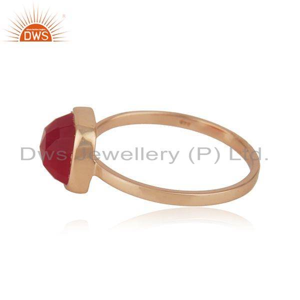 Exporter Rose Gold Plated 925 Silver Pink Chalcedony Gemstone Ring Jewelry