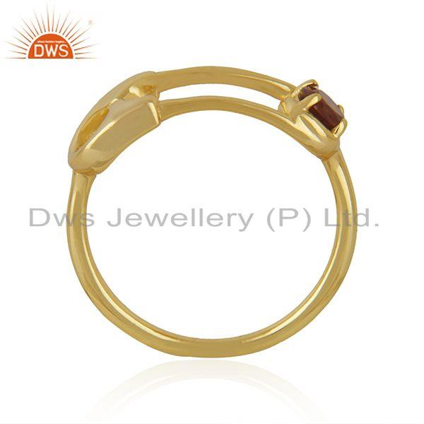 Exporter Customized Pin Design Gold Plated 925 Silver Garnet Gemstone Ring Wholesale