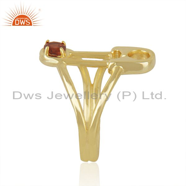 Exporter Safty Pin Shape Gold Plated Silver Garnet Gemstone Ring Jewelry
