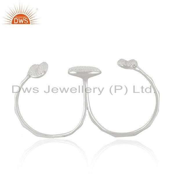 Exporter Wholesale Fine Silver Designer Double Finger Ring Jewelry