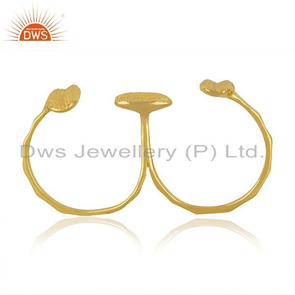 Exporter New Yellow Gold Plated Silver Double Finger Ring Jewelry Supplier