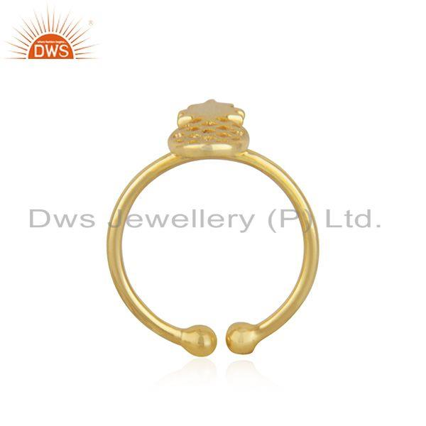 Exporter New Yellow Gold Plated Silver Pineapple Design Adjustable Ring Jewelry