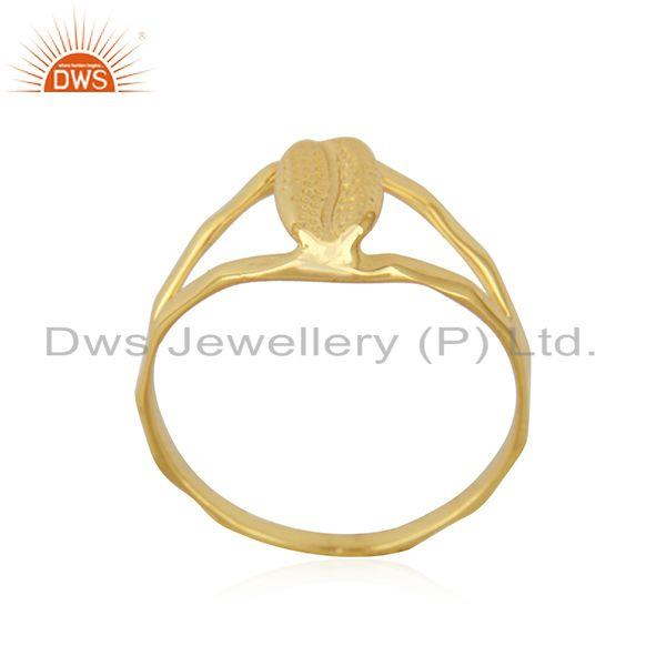Exporter Handcrafted Gold Plated 925 Sterling Plain Silver Ring Manufacturer India