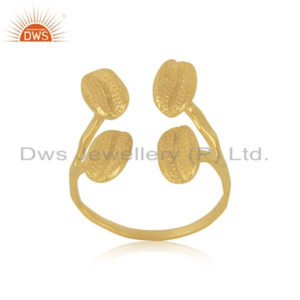 Exporter Gold Plated Handcrafted Brass Fashion Designer Ring Jewelry Manufacturer