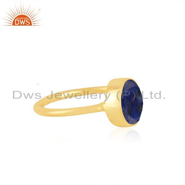 Exporter Lapis Lazuli Gemstone Gold Plated 925 Silver Girls Ring Manufacturer India