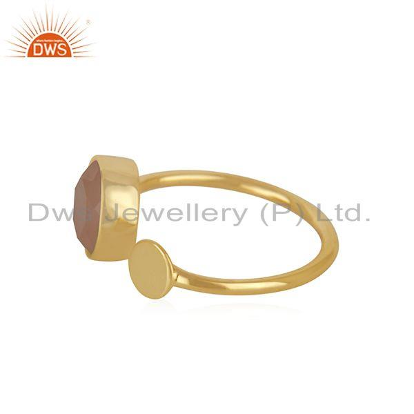 Exporter Handmade 925 Silver Gold Plated Rose Chalcedony Gemstone Girls Ring Wholesale