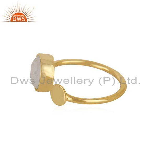 Exporter Natural Rainbow Moonstone Gold Plated 925 Silver Fashion Ring For Girls Jewelry