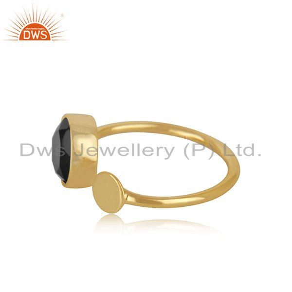 Exporter Black Onyx Gemstone Sterling Silver Gold Plated Girls Promise Ring Manufacturer