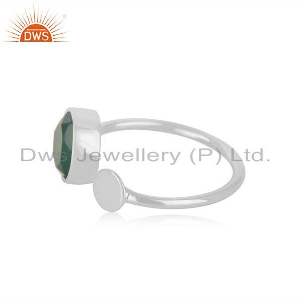 Exporter Genuine Green Onyx Gemstone Fine STerling Silver Designer Ring Manufacturer