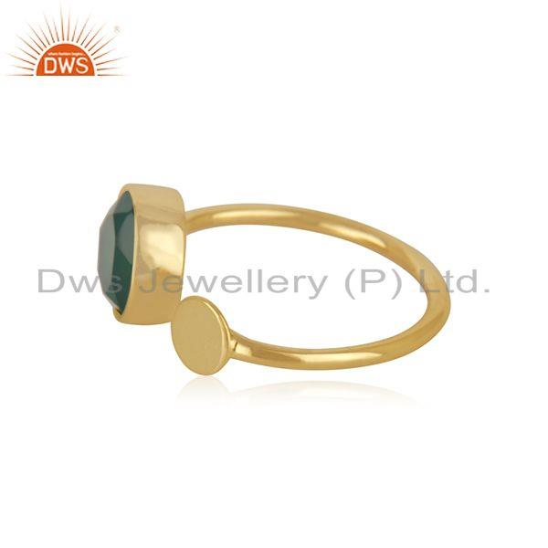 Exporter Natural Green Onyx Gemstone Gold Plated 925 Silver Ring Supplier from Jaipur