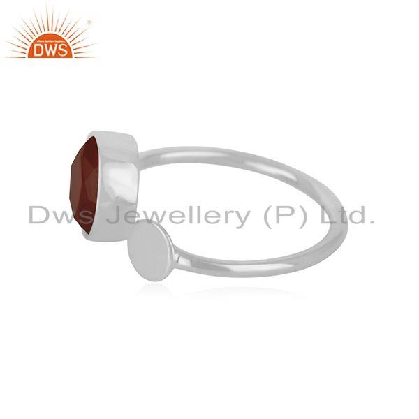 Exporter Red Onyx Gemstone 925 Sterling Silver Handmade Girls Ring Jewelry Wholesale