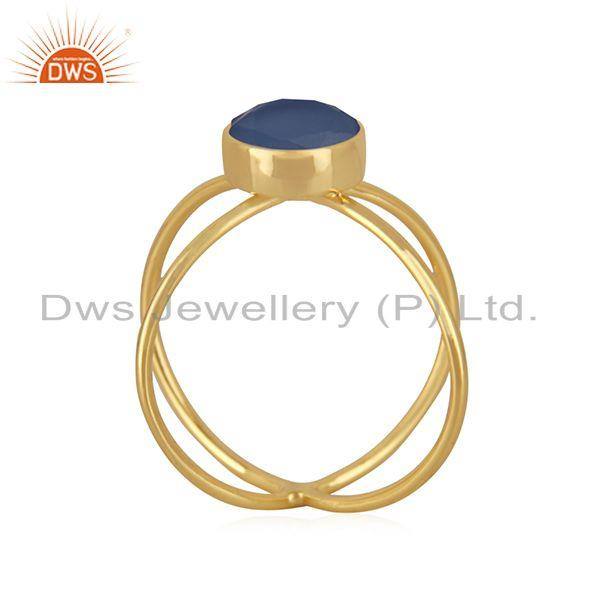 Exporter Blue Chalcedony Gemstone 925 Silver Gold Plated Designer Ring Manufacturer India