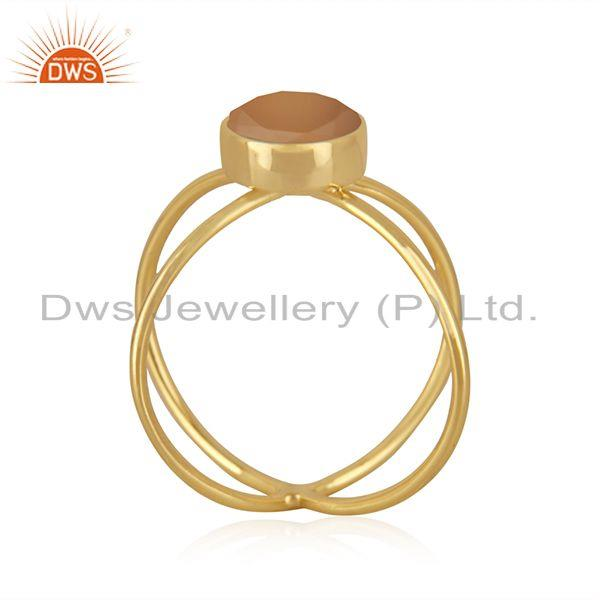 Exporter Yellow Gold Plated 925 Silver Rose Chalcedony Gemstone Ring Manufacturer India