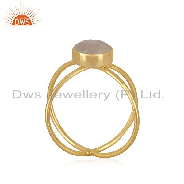 Exporter Rainbow Moonstone 14k Gold Plated 925 Silver Ring Jewelry Manufacturer in INdia