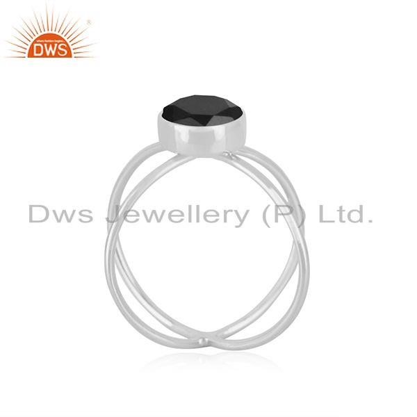 Exporter Black Onyx Gemstone 925 Sterling Silver Designer Ring Manufacturer INdia