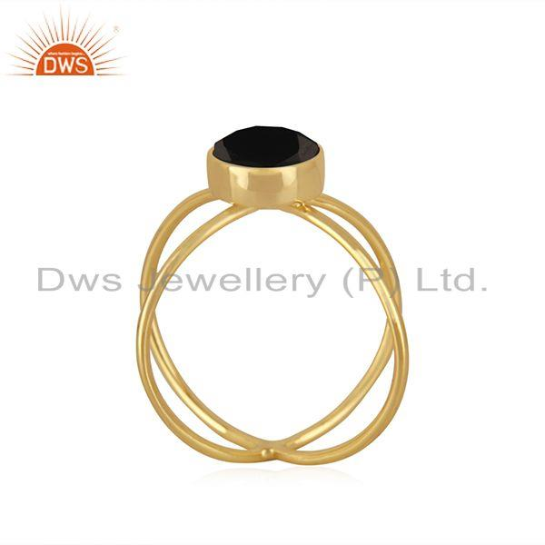 Exporter Black Onyx Gemstone 925 Silver Gold Plated Promise Ring Manufacturer India