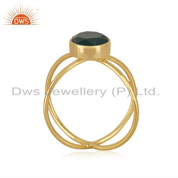 Exporter Yellow Gold Plated 925 Silver Green Onyx Gemstone Ring Manufacturer INdia
