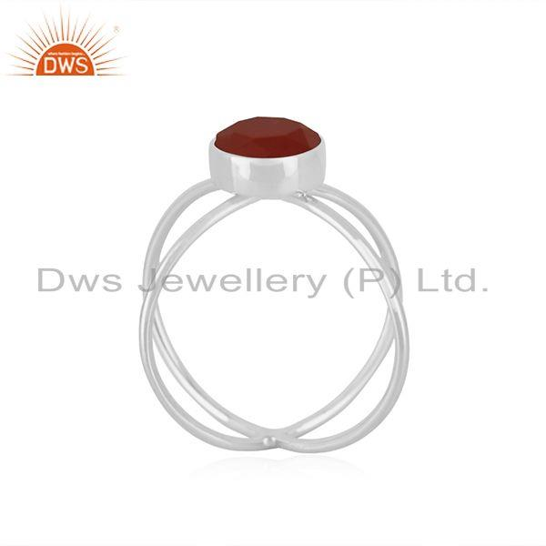 Exporter Red Onyx Gemstone 925 Sterling Fine Silver Ring Manufacturer of Girls Jewelry
