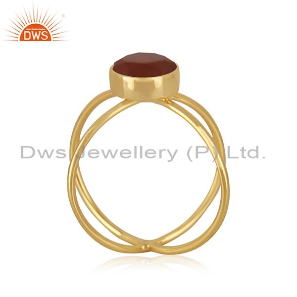 Exporter Red Onyx Gemstone 925 Silver GOld Plated Ring Jewelry Manufacturer in Jaipur