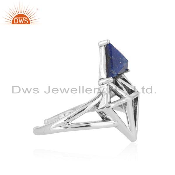 Exporter Lapis Gemston Diamond Shape 925 Silver Oxidized Ring Jewelry For Girls