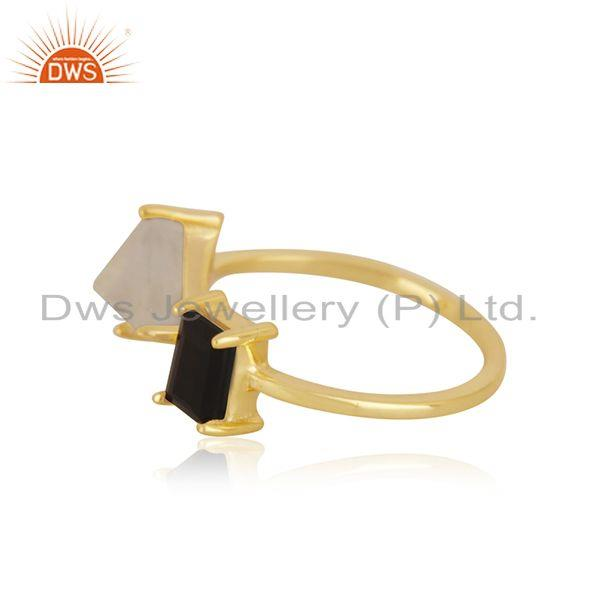 Exporter Natural Multi Gemstone 925 Silver Gold Plated Ring Manufacturer India