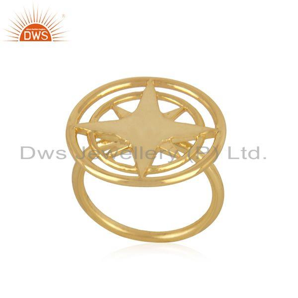 Exporter Compass Yellow Gold Plated 925 Silver Lucky Ring Wholesaler from Jaipur India