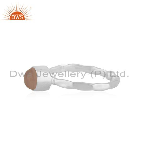 Exporter Rose Chalcedony Gemstone Fine Sterling Silver Ring Wholesale