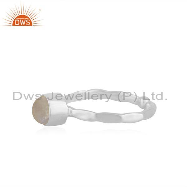 Exporter Rainbow Moonstone Handmade 925 Sterling Fine Silver Ring Manufacturer India
