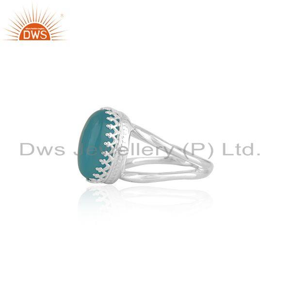 Exporter Aqua Chalcedony Gemstone 925 Silver Crown Ring Manufacturer India